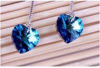 Wholesale Earring Sapphire - Korean women long section of female temperament earrings tassel earrings Heart of Ocean Blue Crystal ear line