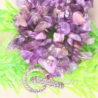 Al por mayor-Amethyst natural de cristal cuentas de chip collar 18