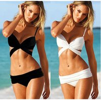 Wholesale Hot Bikinis Free Shipping - Swimwear For Women Hot Bikini Girls Swimsuit Black White Color Bikinis Set Hot Sale Free Shipping