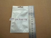 Wholesale Hang Iphone Charger - 8x14cm clear white plastic Self Seal Zipper retail package bag for iphone Mobile Phone charger cable hang hole packing bag