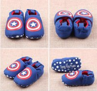 Wholesale Girl Spiders - Baby Shoes Infant Boys Girls Walkers Shoes Batman Captain America Spider man Super Man Englan Flag