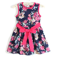 Wholesale Tutu Dresses For Aged 11 - summer dress 2016 girl dress new for 3-11 age bow floral Girls Princess Party Bow Kids Formal Dress D002
