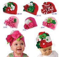 Wholesale Infant Outdoor Hats - EMS DHL Free Shipping baby Toddler girls lace flowers hat infant head wear lace hat cap Christmas Gift Party wear