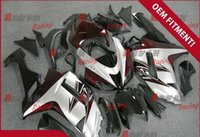 Wholesale Red White Zx6r Fairing - Wine red white and matte black painted custom plastic injection molding fairing Kawasaki ZX6R 2007 - 2008 37