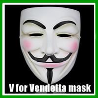 Wholesale White Party Masks For Sale - NEW V Vendetta Mask Wholesale-SALE Guy Fawkes Masquerade Masks Halloween Mask Party Masks V Mask Vmask Free Shipping