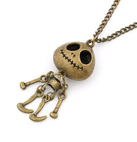 Wholesale Bronze Choker - Punk Gothic Vintage Retro Bronze Long Chain UFO Skull Skeleton Pendant Necklace Jewelry For Women Wholesale 12 Pcs