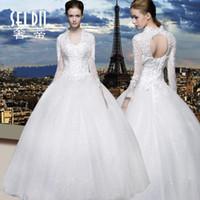 Wholesale Long Length Dress Sex Image - elie saab 2016 sex Lace Wedding Dresses Long Sleeves Bridal Ball Gowns Plus Size Sexy Vintage Cheap V-Neck Arabic Sheer Wedding Dresses