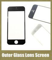 передняя крышка для iphone 4s оптовых-Передняя внешний стеклянный объектив с сенсорным экраном крышка подходит для iphone 4s / 4g iphone 5s 5c 5G запчасти черный белый бесплатная доставка SNP006