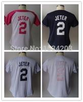 Wholesale Cheap Female Jerseys - 30 Teams- 2 Derek Jeter women Jersey white pink black New York female baseball jerseys strip cheap authentic sport strip Stitched