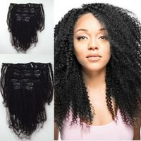 Wholesale human hair kinky curly clip ins resale online - Clip In Human Hair Extensions Brazilian Virgin Hair Afro Kinky Curly Clip in Hair Extensions Natural B C Kinky Curly Clip Ins