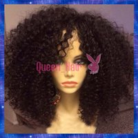 Wholesale Burgundy Lace Wigs - Kinky Curl Human Hair Wigs Virgin Brazilian Hair Afro Curly Glueless Full Lace Wigs & Front Lace Wigs Best Quality