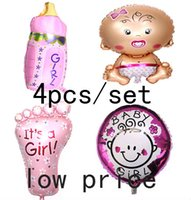 Wholesale Shower Feet - Wholesale-Hot angel baby girl balloon baby shower   foil baloons baby foot balao for newborn party decor 4pcs set