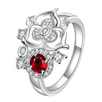 Nova chegada Fashion 925 Sterling Silver Jewelry Sparkly Ruby com CZ Crystal Stones Rings For Women