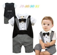 Wholesale Handsome Black Baby Boy - Baby Boys Rompers Bow Tie Black White Plaid Summer Short Sleeve Handsome Jumpsuits Overalls infant Clothes E13714