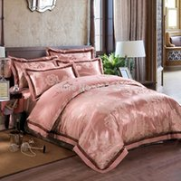 Wholesale Satin Comforters - Luxury satin jacquard home textile bedding sets reversible duvet cover Egyptian cotton sheet 4 5pc comforter sets king queen