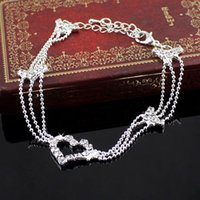 Wholesale Aqua Sandals - Good Sexy Barefoot Sandal Crystal Silver Anklet Crystal Fashion Jewelry