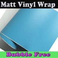Wholesale Blue Car Head Lights - Baby blue Matte Vinyl wrap Film For Vehicle Car wrap light sky blue matt Car Wrap Film with air release 1.52x30m Roll