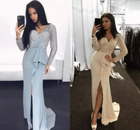 Wholesale High Neck Sparkle Formal Dress - Champagne Vintage Sparkle Sequins Beaded Top Long Prom Dresses 2018 V Neck Long Sleeves High Split Sheath Formal Evening Gowns Vintage