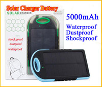 Wholesale S4 External - Solar Battery Charger Solar Power Bank 5000mah Backup External Power Bank for Samsung S3 S4 S5 HTC M7 M8 waterproof shockproof
