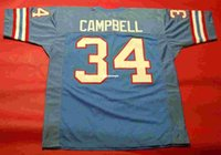 Cheap retrò # 34 EARL CAMPBELL CUSTOM JERSEY bule Mens cuciture Throwback taglia S-5XL maglie da calcio