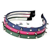 Wholesale Headband Rivets - Wholesale-LaniGood Fashion Punk Headband Bow Spike Rivets Studded Hair Band Unisex