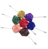 Wholesale Mens Flower Lapel Pins - Mens Colorful Flower Brooch Lapel Pin Fashion Boutonniere Wedding Groomsman Eveving Party Button Floral Short Pins K014