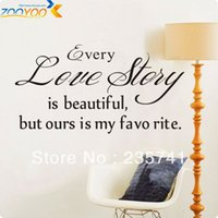 Wholesale Sticker Love Story - (100pcs lot) PVC ZooYoo ZY8145 Vinyl Wall Decal Sticker Black Brown Every Love Story Is Beautiful
