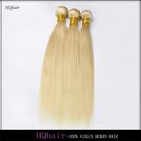 ingrosso fasci di capelli peruviani 5a-Fasci di capelli biondi peruviani vergini diritto serico tessuto dei capelli umani 3 pezzi / lotto 5A 613 estensioni dei capelli umani remy HQhair