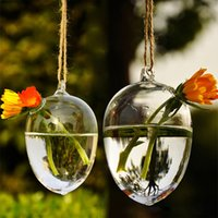 Wholesale Hanging Glass Eggs - Free shipping Hanging Round Egg Glass Clear Flower Vase Hydroponic Container Home Decor Free Shipping Hot New, dandys