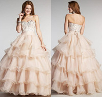Wholesale Sweetheart Aline Prom - 2016 Champagne Long Prom Dresses Aline Sweetheart Rhinestone Crystal Beaded Organza Ruffled Stain Quinceanera Dresses Homecoming Dresses