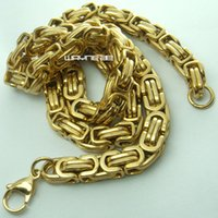 Wholesale Gold Plated Byzantine Necklace - 70cm , 55cm Cool Stainless Steel Men's Gold Tone Byzantine Necklace Chain N295