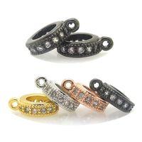 perles à gros trous achat en gros de-Perles rondes CZ, perles coulissantes, perles intercalaires, perle à gros trous Zirconia Micro Pave convient à Pandora, Chamilia, fabrication de bracelets en cuir européen Biagi