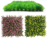 Wholesale Plants Article - Mosaic of square 25CM*25CM simulation turf fish tank simulation plant wall lawn green plastic turf water tank landscaping articles