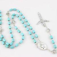 Wholesale Turquoise Rosary - Catholic Religious Jewelry Fashion Long Design Imitation Turquoise Metal Cross Pendant Rosary Necklace Unisex In Jewelry