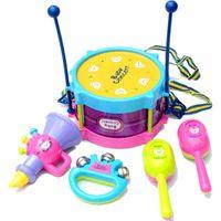 Wholesale Wholesale Children Rattle Drum - Wholesale- Child musical instrument baby hand drum set Noise Maker Baby toy concert 5 pieces set drum sand hammer rattles
