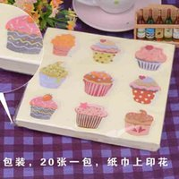 Wholesale Table Napkin Sale - Birthday Party Paper Napkin Tissue Color Cake Handkerchief Placemats Throwaway Serviettes Table Decor for Sale SD903