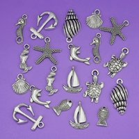 Wholesale Mixed Sea Shells - New Fashion Jewelry 100 pcs Charm Tibetan Silver Mixed Sea Pendant Charms Seahorse Shell Fish Anchor Beach Jewelry Fitting S3899