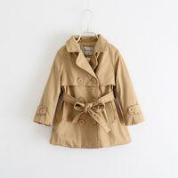 Wholesale Girls Outdoor Long Jackets - High quality wind coat girls fleece lined parka Double line button with belt dust long sleeve coat jacket outdoor wear D389L