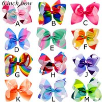 Wholesale Grosgrain Headbands - 6inch JOJO Trendy Grosgrain Rainbow Colored Hair Bows With Clips Fashion Boutique Jojo Siwa Bows 12color choose free ship Dropshipping