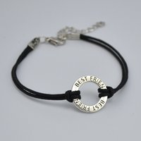 Wholesale Charms For Bracelets Sold Wholesale - hot selling 50pcs a lot antique silver plated connector ring dangle charms black wax cord bracelets letter BEST FRIEND for friendship