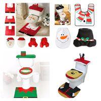 Wholesale bathroom glazing - New 4 Styles Cheap Merry Christmas Decoration Santa Elk Elf Toilet Seat Cover Rug Hotel Bathroom Set Best Xmas Decorations Gifts