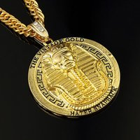 Wholesale God Hearts - Vintage Gold Silver Plated Rhinestone Old king Of Egypt Round God Pendant Necklace Hip Hop Rap Punk Men Long Chain Jewelry