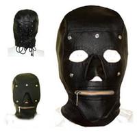 Wholesale Leather Masked Sex - Leather Bondage Mask Slave Head Hood Zipper Mouth Set BDSM Restraint Hood Adult Sex Game sextoys
