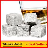 Wholesale Brown Whiskey - Christmas gift! Whiskey Stones Whiskey Rocks 9pcs set in Delicate Gift Box+Velvet Bag Whisky stones Wedding Decoration