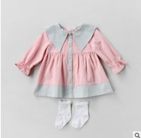 Wholesale Breast Dolls - Children princess dress 2018 new Spring Baby girls cotton doll lapel pleated dresses Kids single-breasted dress Baby pink dress C2483