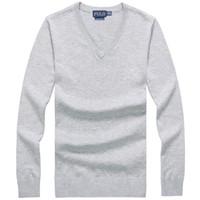 suéter polo caliente al por mayor-Suéter de polo de los suéteres de la marca clásica de la marca de fábrica de los hombres de alta calidad Suéter caliente del suéter del cuello en V del suéter