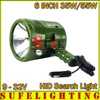 Wholesale Hid Bulb 24v - New 6INCH 35W 55W HID search light Outdoor spot light Rechargeable Hunting handheld Light 9-32V HID WORKING DRIVING LIGHT 12V 24V