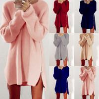 Wholesale Vintage Sweater Buttons - Wholesale- Women Fashion New Mini Dress Sexy Zipper Loose Sweater Cotton Knit Casual Vintage Boho Pullover Blouse Blusas Coat Femininas