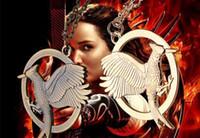 Wholesale Combustion Burning - golden vintage Bronze child The Hunger Games mockingbird Combustion Burning Phoenix necklace Crow Firebird pendant bird necklace 2017 x073