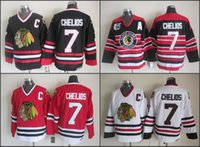 Wholesale Cheap Nhl Patches - cheap NHL Jerseys Chicago Blackhawks #7 Chris Chelios Black Red Stripe 75TH A Patch Throwback CCM Ice Hockey Jerseys Authentic Jersey